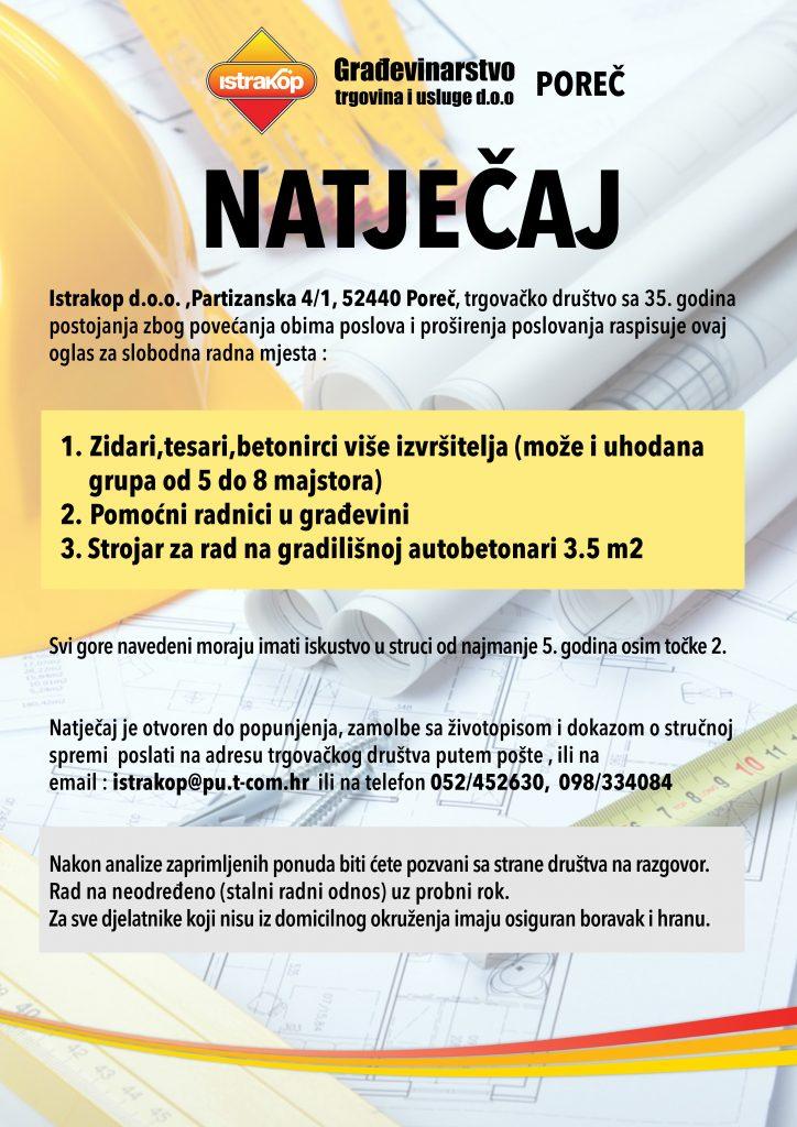 Natječaj za posao 2017 Istrakop